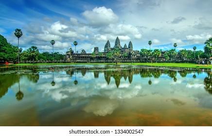 Angkor Wat Reflection in  Lotus Pond, Siem Reap, Cambodia