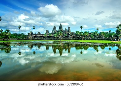 Angkor Wat Reflection on the Lotus Pond, Siem Reap, Cambodia