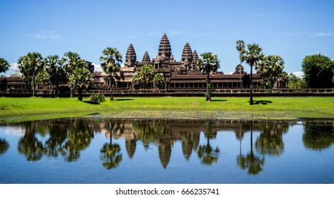 Angkor Wat seen across the lake. Siem Reap. Cambodia.