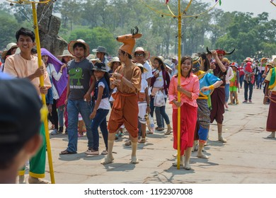 Angkor Wat, Siem Reap / Cambodia - April 2016: Khmer Traditional Dance in front of Angkor Wat during Khmer New Year
