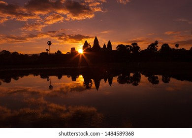 Angkor Wat Sunrise.  Siem Reap, Cambodia.  The largest religious monument in the world.