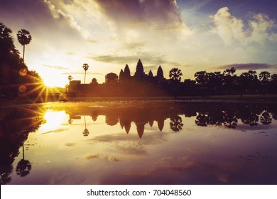 Angkor Wat sunrise at Siem Reap. Cambodia  and Angkor Wat with reflection in water on sunrise