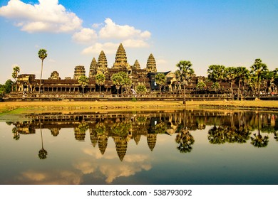 Angkor Wat is a temple complex in Cambodia and the largest religious monument in the world