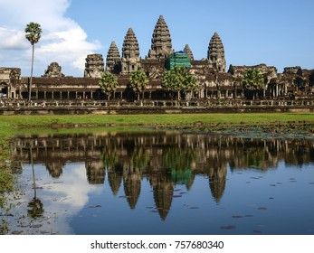 Angkor Wat temple reflected in a lake, Cambodia