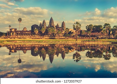 Angkor Wat temple reflecting in water of  Lotus pond at sunset. Siem Reap. Cambodia.