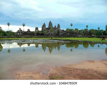 Angkor Wat temple with reflection in water, Siem Reap in Cambodia