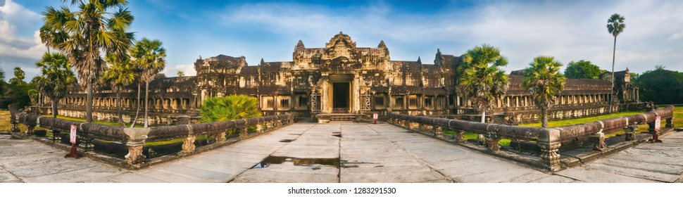 Angkor Wat temple at sunset. Siem Reap. Cambodia. Panorama