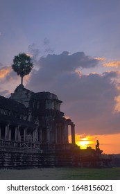 Angkor Wat temple at sunset. View of the northwest corner. Angkor Wat is the largest religious monument in the world, and has been declared World Heritage Site by UNESCO in 1992.