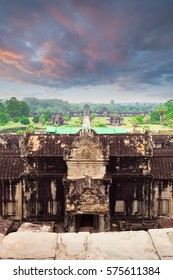 Angkor Wat temple. View from inside the temple. Cambodia