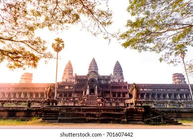 angkor wat with yellow and orange light in sun rise morning, Siem Reap, camodia