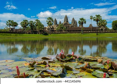 Angkor Wat,Siem reap, Cambodia and pond reflection on blue sky background