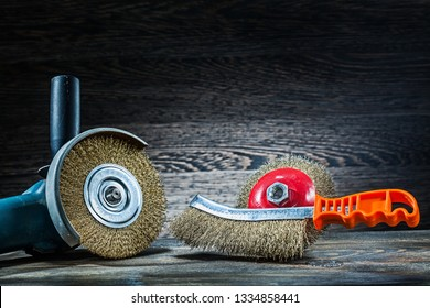 angle grinder with abrasive wire tools on vintage wood