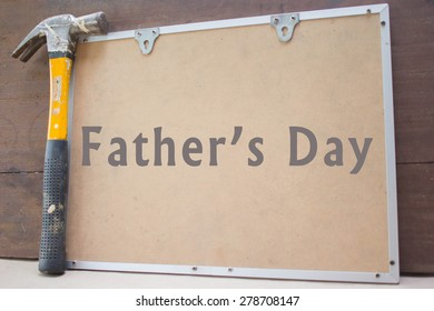 Angle grinder and boards fathers day card with text