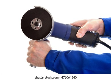 Angle grinder in hands, isolated on white background