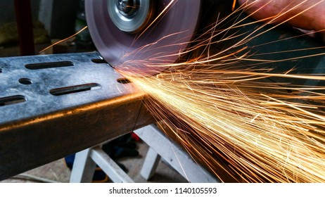 Angle grinder. Working process.