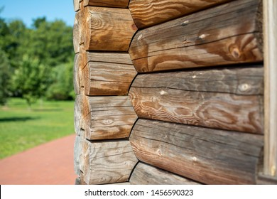Angle logs close-up. Log wall of a wooden house