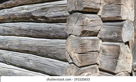 Angle old log home, close up