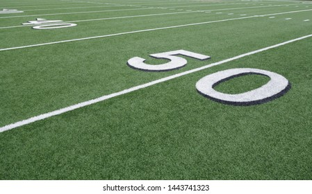angle view of the 50 yard line of a football field
