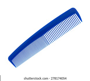 An angle view of a large blue comb on a white background.