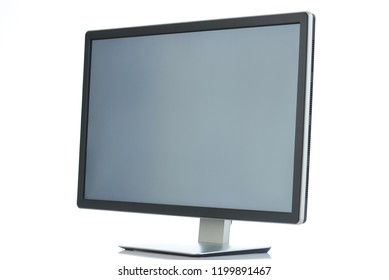 Angle view on pc monitor isolated on white background