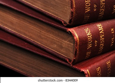 An angled, close-up view of a set of old books (over 100 years old) with a shallow depth of field.