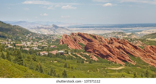 Angled sandstone cliffs in Roxborough State Park near Denver, Colorado.