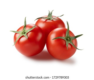 Angled shot of a tomato placed on a white background