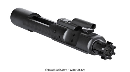 Angled view of an AR-15 bolt carrier group isolated on a white background