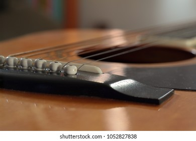 Angled view of guitar pins and strings closeup