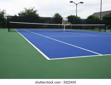Angled view of a tennis court