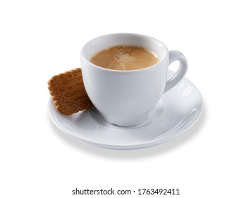 Angled view of a white expresso cup and saucer full of smooth expresso coffee, with a biscuit, isolated on white with a slight drop shadow
