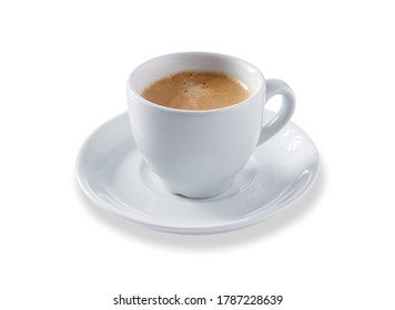 Angled view of a white expresso cup and saucer full of smooth expresso coffee, isolated on white with a slight drop shadow