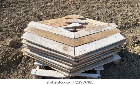 angled wood slats for concrete formwork