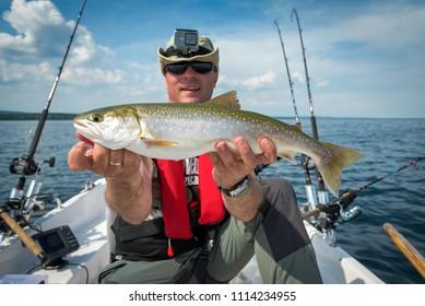 Angler with arctic char