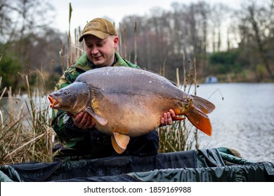 Angler holds big carp in his hands.Carp Fishing