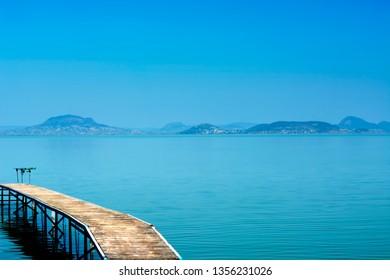 Angler pier at Lake Balaton , Hungary