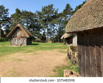 Anglo Saxon huts at west stow in the sunshine