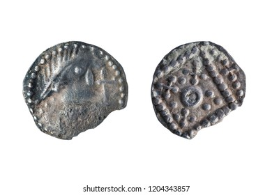 Anglo Saxon silver Sceat coin front and reverse sides of the early 8th century cut out and isolated on a white background