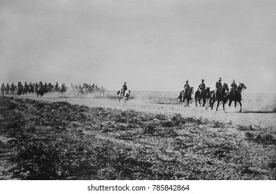 Anglo-Indian cavalry in the desert on the Tigris River in Iraq during World War I. In 1915 they advanced to Ctesiphon before meeting Ottoman resistance. The following Siege of Tut, ended in the defeat