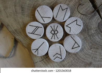 Anglo-saxon wooden handmade runes Futhorc