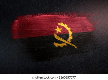 Angola Flag Made of Metallic Brush Paint on Grunge Dark Wall