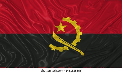 Angola Flag of Silk, Flag of Angola fabric texture background.
