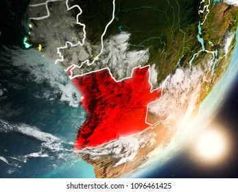 Angola from space with highly detailed surface textures and visible country borders. 3D illustration. Elements of this image furnished by NASA.