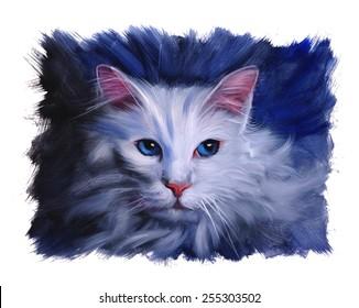 Angora cat portrait oil painting