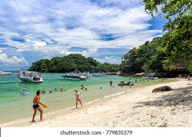 Angra dos Reis, February 12, 2013 - This white sand beach, in blue laggon area, is a popular place for tourists in the region of Angra, that access the beaches in the region by boat.