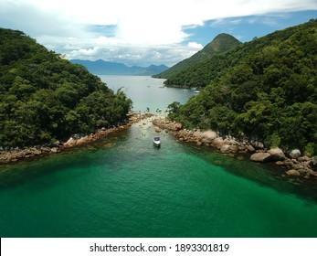 `Angra dos Reis, RJ, Brazil - January 5th 2021: Ilha Grande - Aerial photography - drone - Lagoa Verde