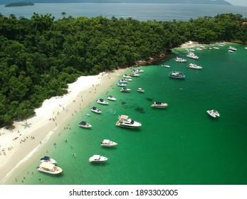 `Angra dos Reis, RJ, Brazil - January 5th 2021: Ilha Grande - Aerial photography - drone - praia do dentista