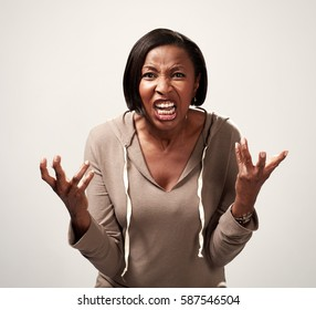 Angry african american woman
