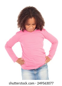 Angry african little girl isolated on white background