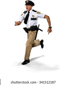 Angry African young man with short black hair in uniform screaming - Isolated